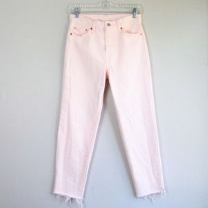 Levi's high rise pink raw hem crop ankle jeans